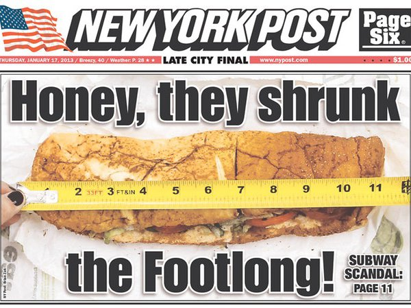 News article about Subway Footlong scandal