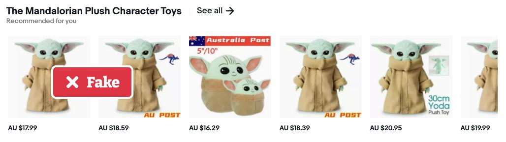 Fake baby yoda listings on Amazon