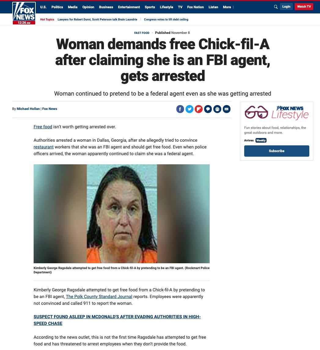 Fake FBI Chic-Fil-A
