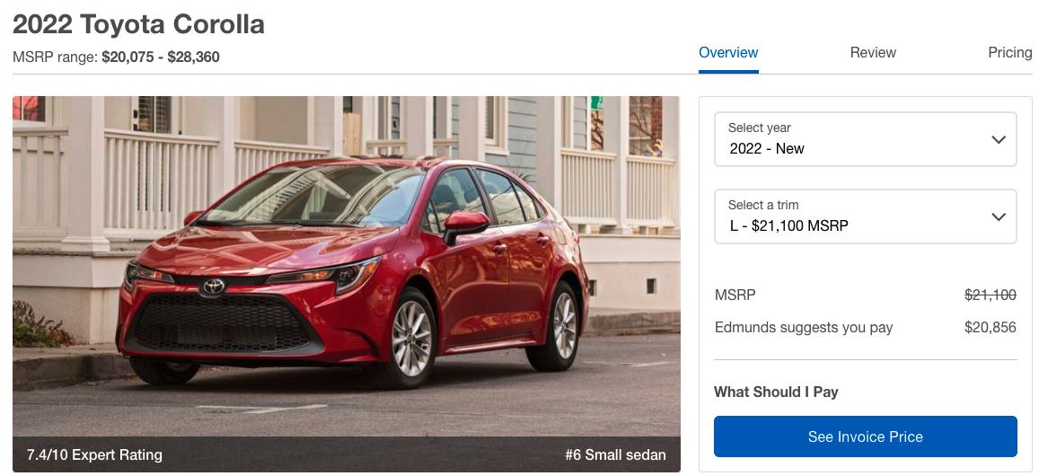 2022 Toyota Corolla Cost