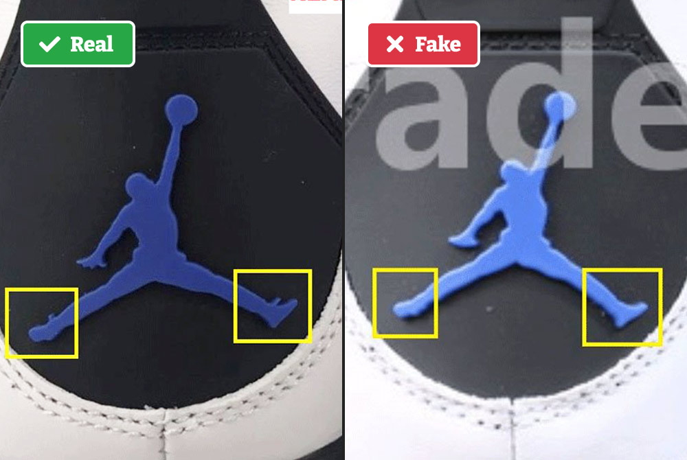 Real vs fake Air Jordans Jumpman logo