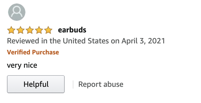Example of potential Amazon fake review
