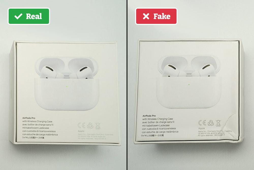 Real vs fake Airpods box