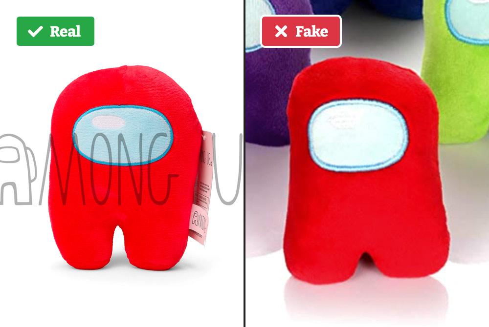 Real vs fake Among Us plush (shape).