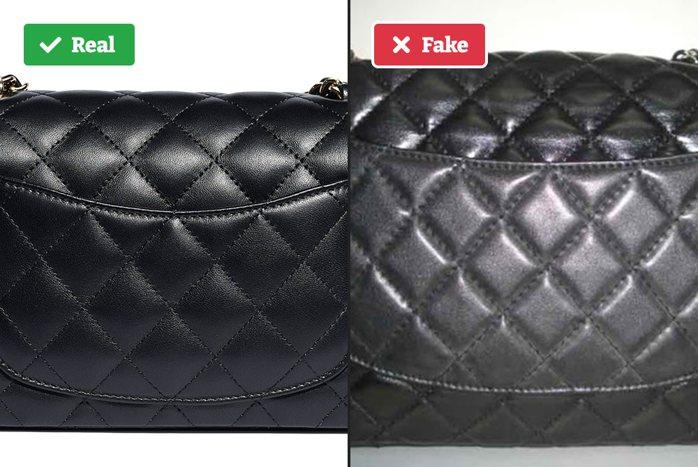 Real vs fake Chanel bag quilt pattern