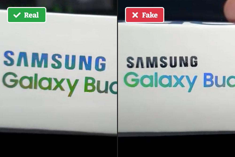 Real vs. fake Galaxy buds box