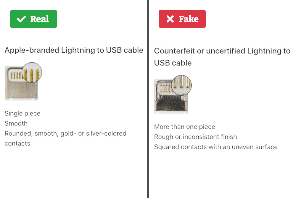 Real vs. fake lightning cable