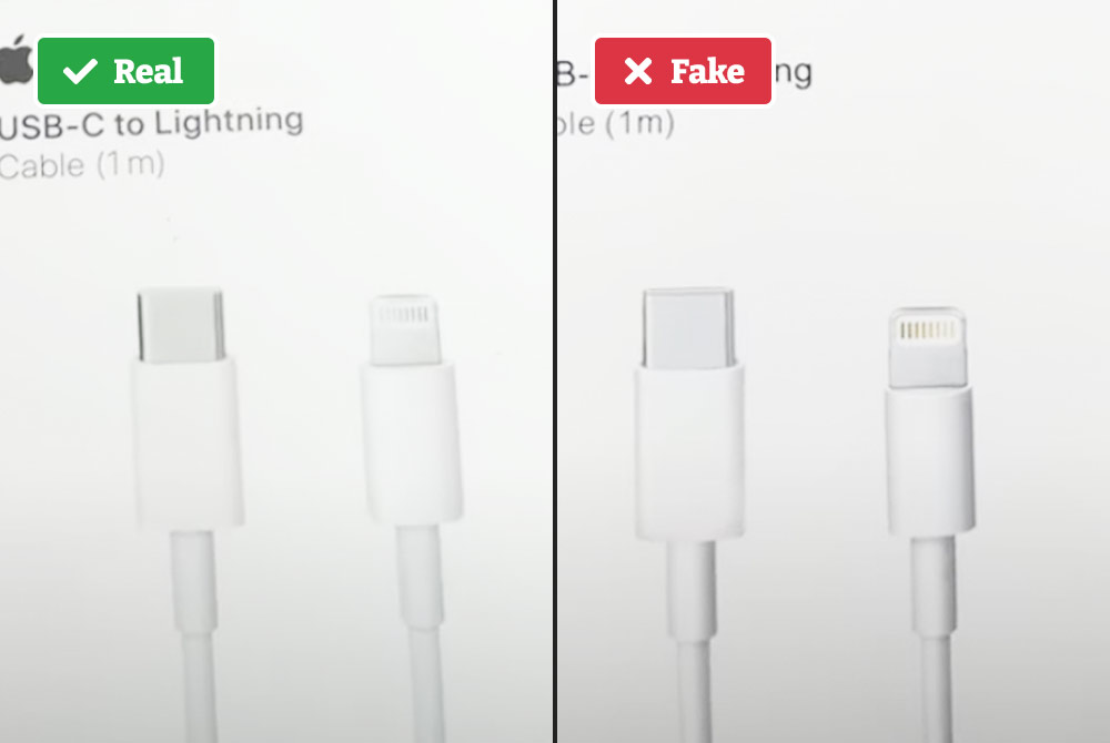 Real vs. fake iPhone charger box