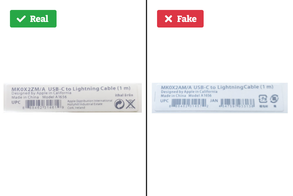 Real vs. fake iPhone charger sticker