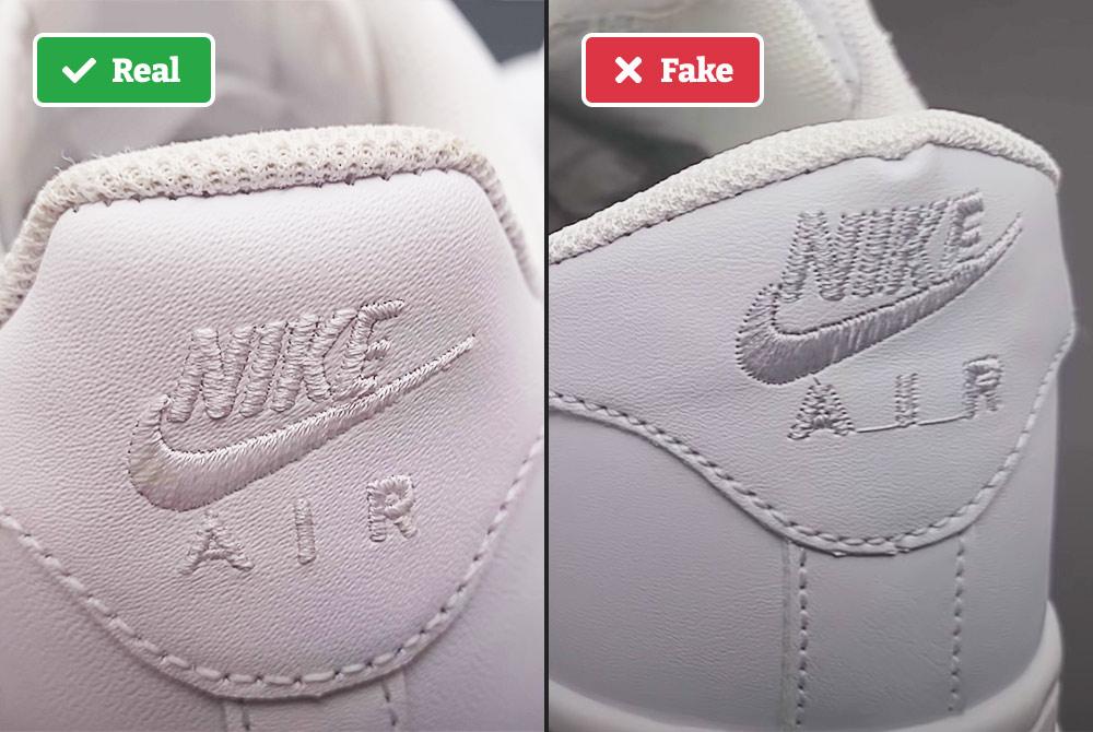 Real vs fake Nike Air Force 1s