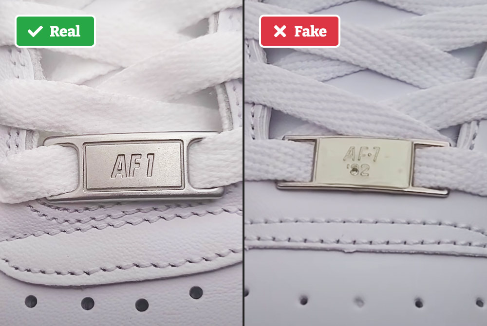 Metal tag on real vs fake Air Force 1s