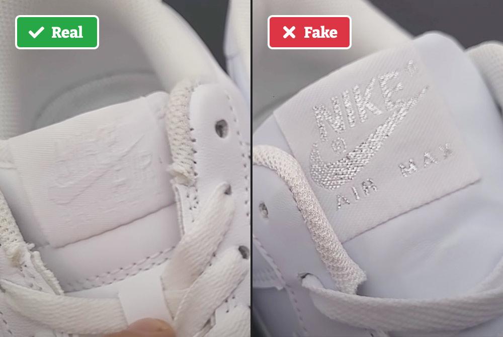 Tongue on real vs fake Nike Air Force 1