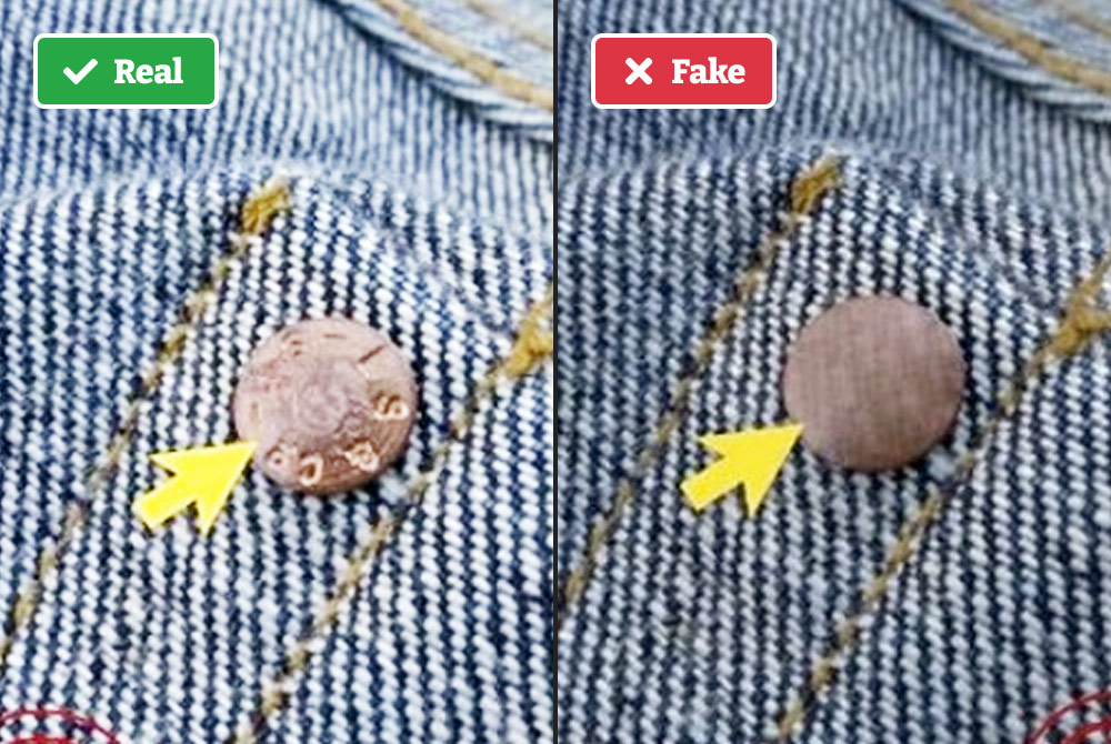 Real vs fake Levi's rivets
