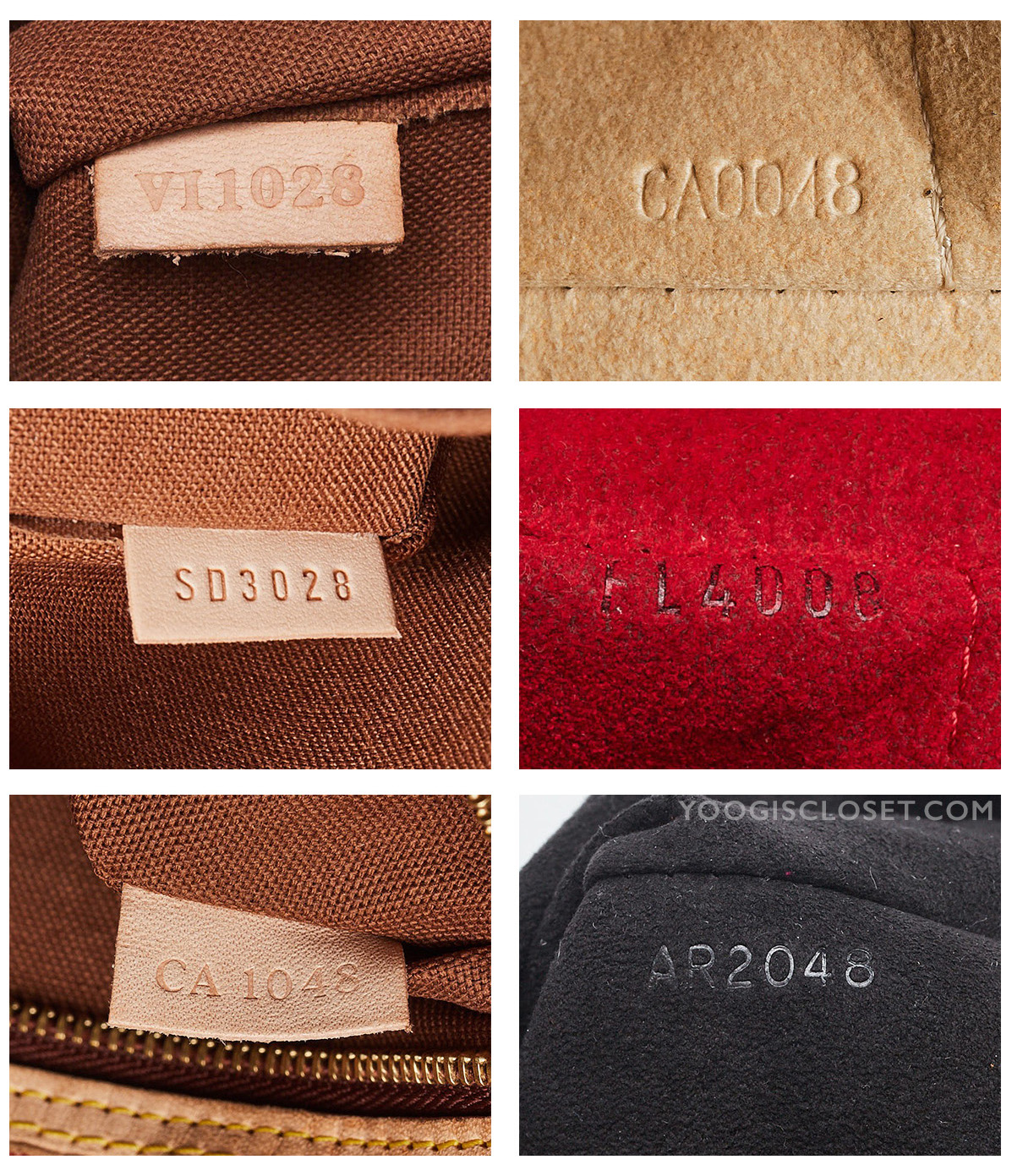 Examples of Louis Vuitton date codes