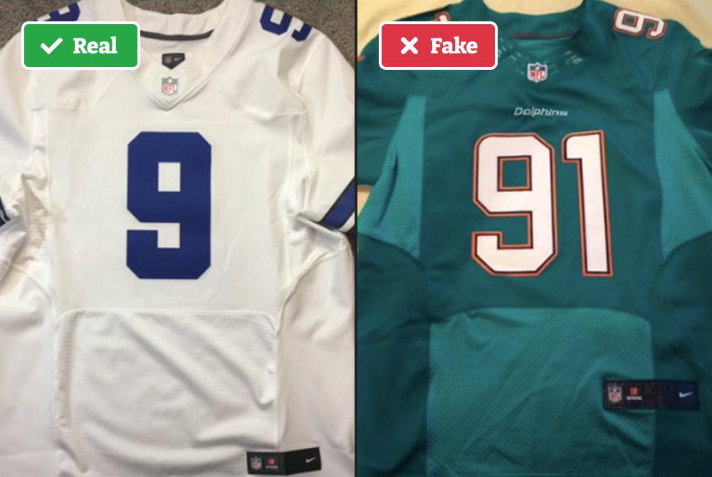 Real vs fake NFL jersey color panels
