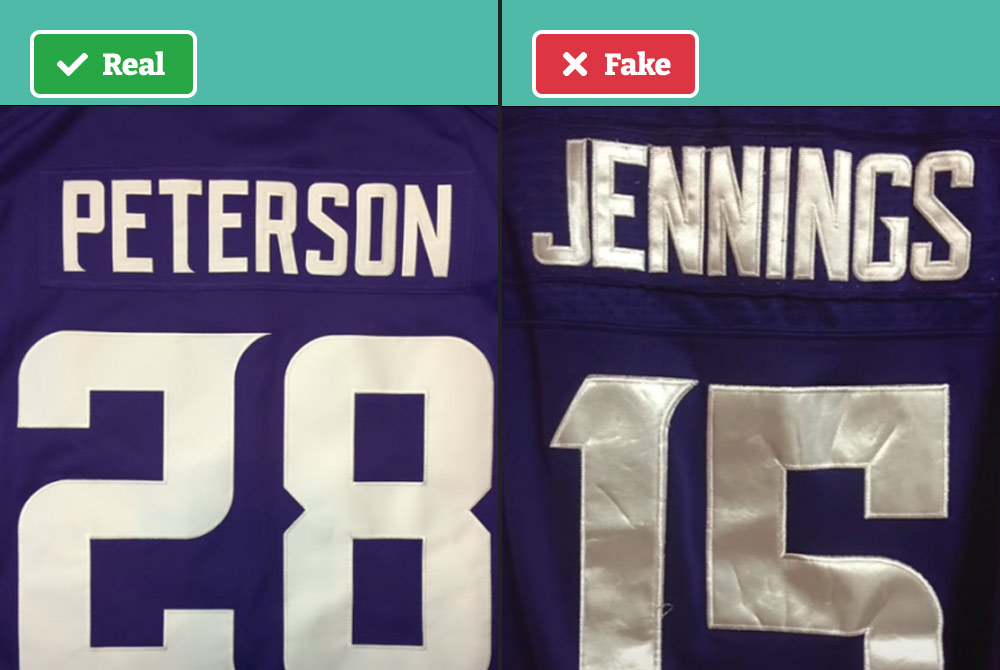 Real vs fake NFL jersey lettering