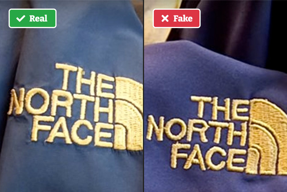 Real vs fake North Face jacket embroidery