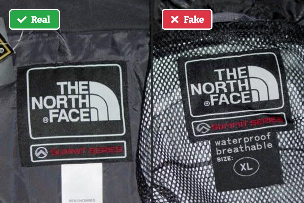Real vs. fake North Face jacket tag.