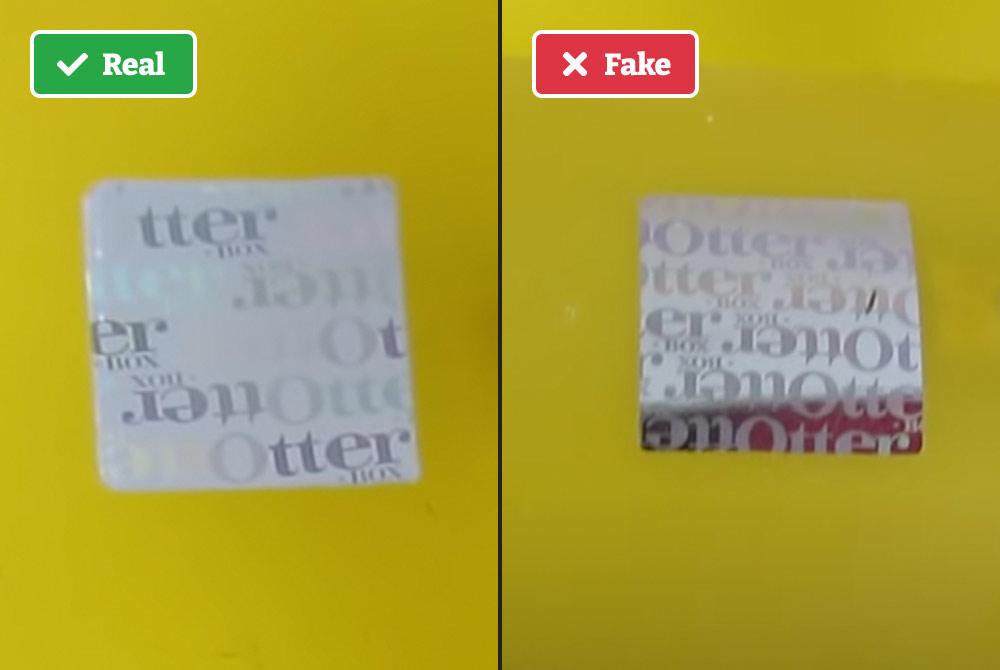 Real vs. fake Otterbox hologram sticker.