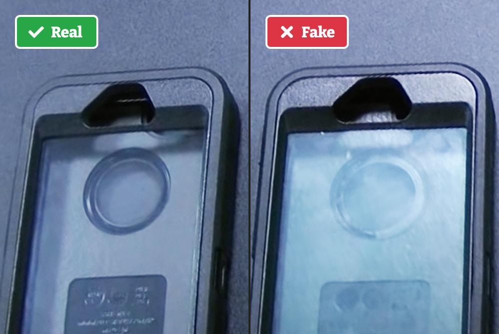Real vs fake Otterbox screen tint