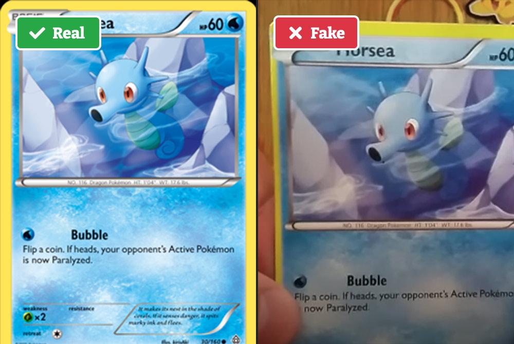 Real vs fake Pokémon card (border)