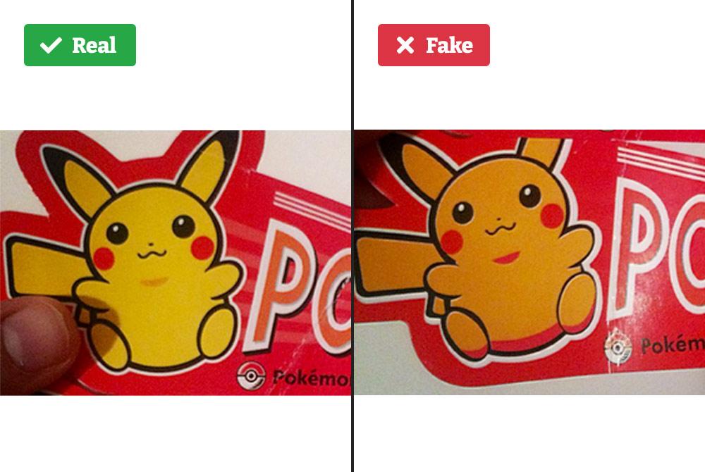 Real vs fake Poké doll tag.