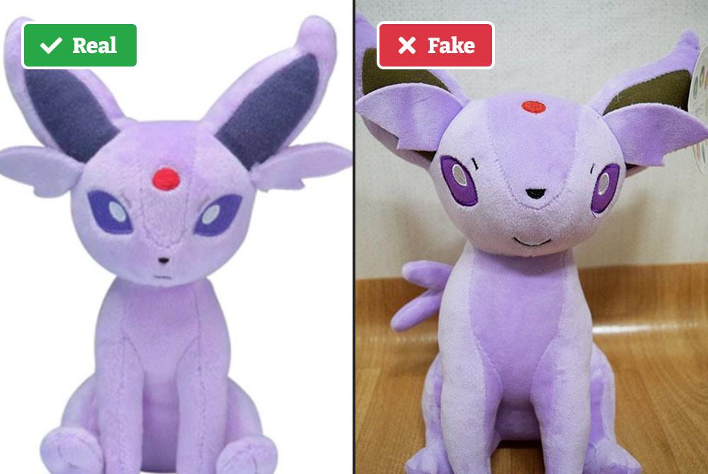 Real vs fake Pokémon plush toy.
