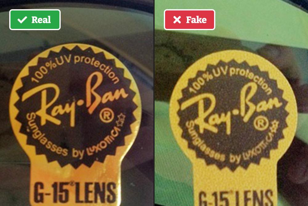 Fake Ray-Bans sticker on lens