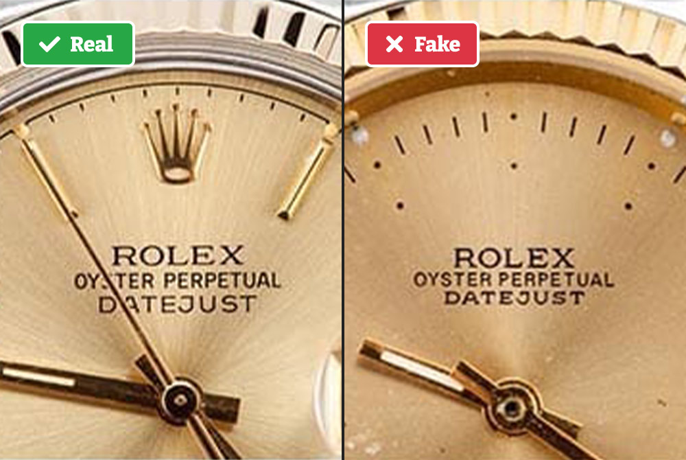 Real vs fake Rolex watch face