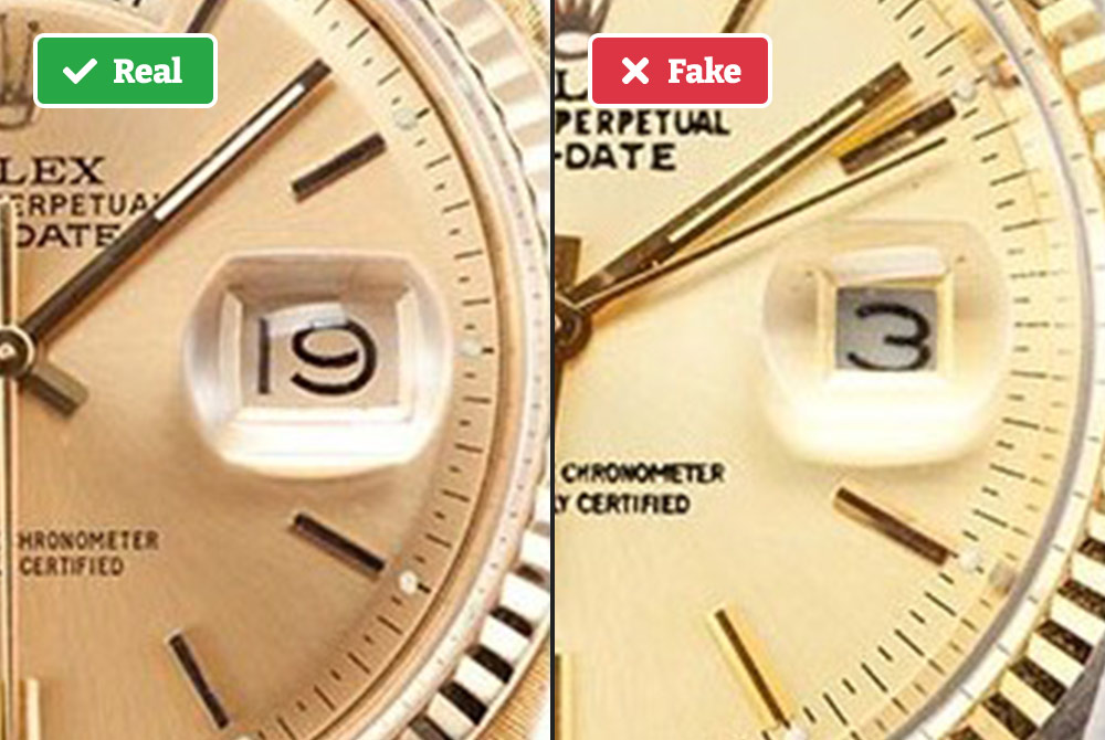 Real vs fake Rolex date magnification