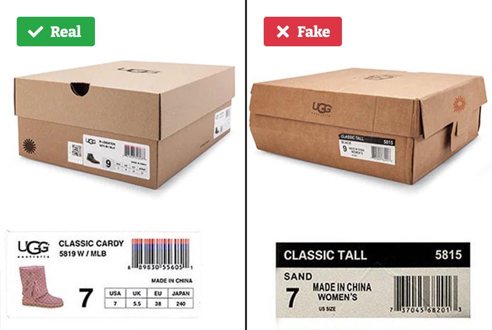Real vs fake UGG box