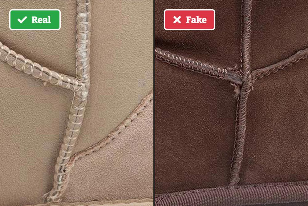 Real vs fake UGGs (stitching)