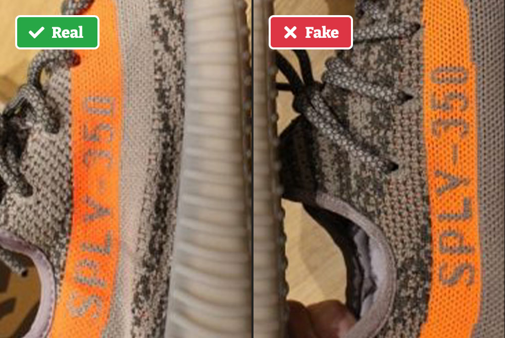 Real vs fake Yeezy example