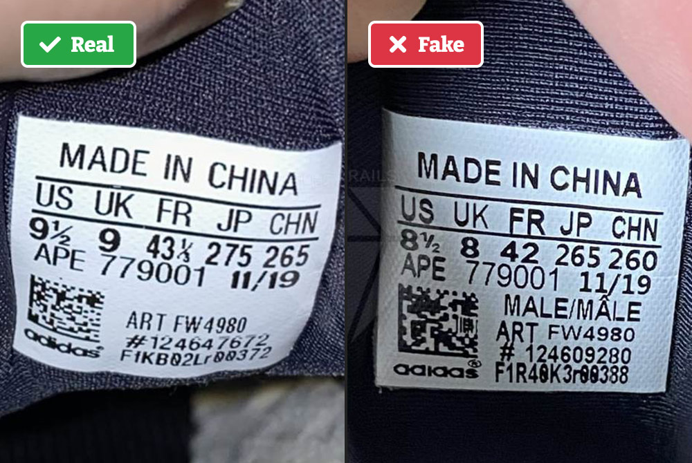 Real vs fake Yeezy sneaker tags