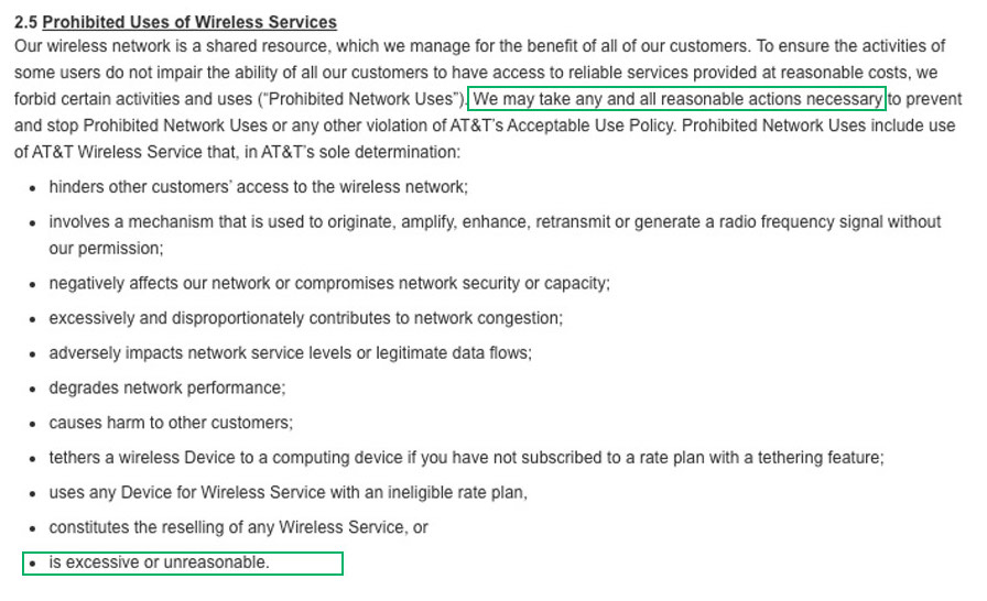 AT&T's Terms and Conditions