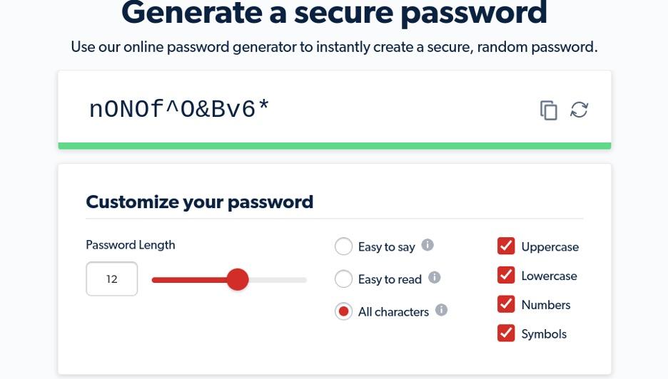 LastPass password generator