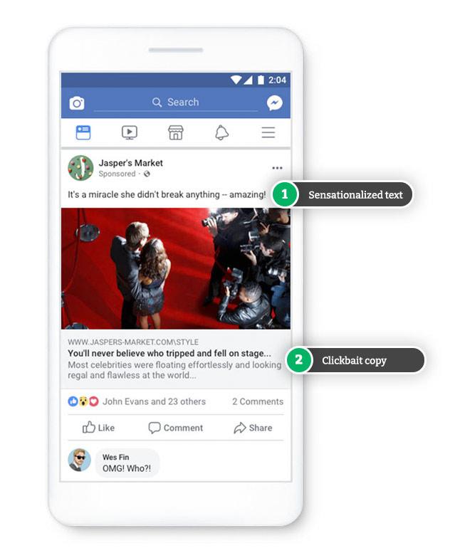 Facebook clickbait ad