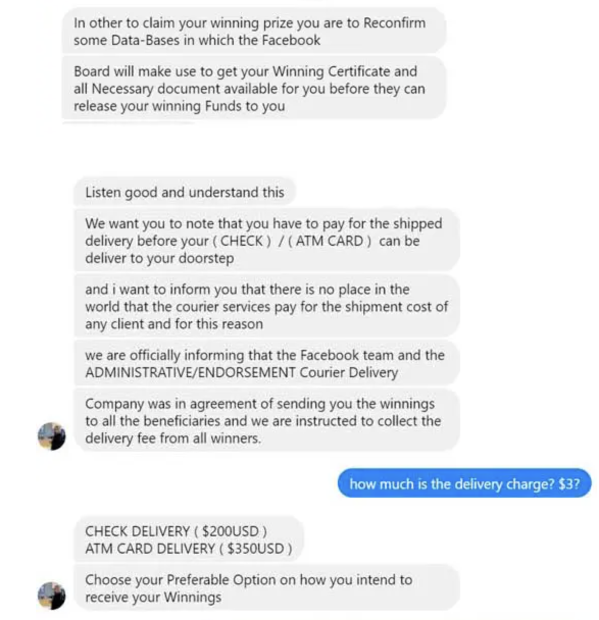 Facebook scams related to winnings.