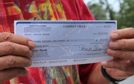 Example of fake check used in overpayment scam