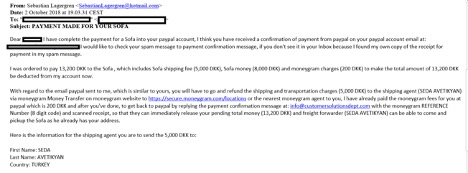Example of overpayment scam
