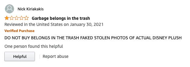 Amazon review of fake Baby Yoda