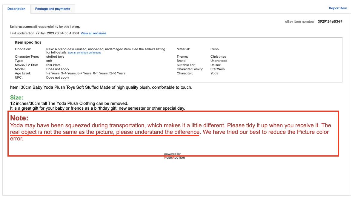 eBay disclaimer