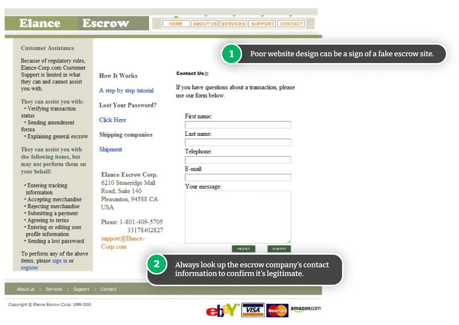 Example of a fake escrow site