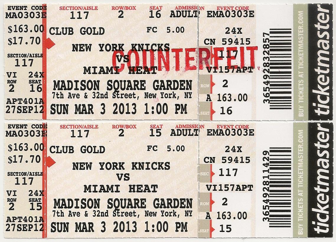 Fake vs real ticket