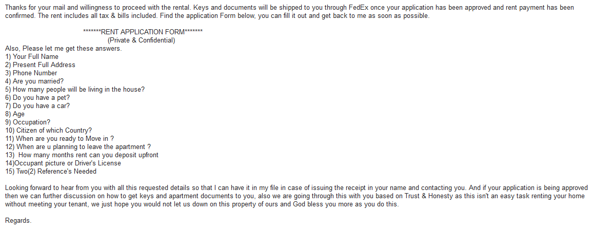 Example of Craigslist rental scam.