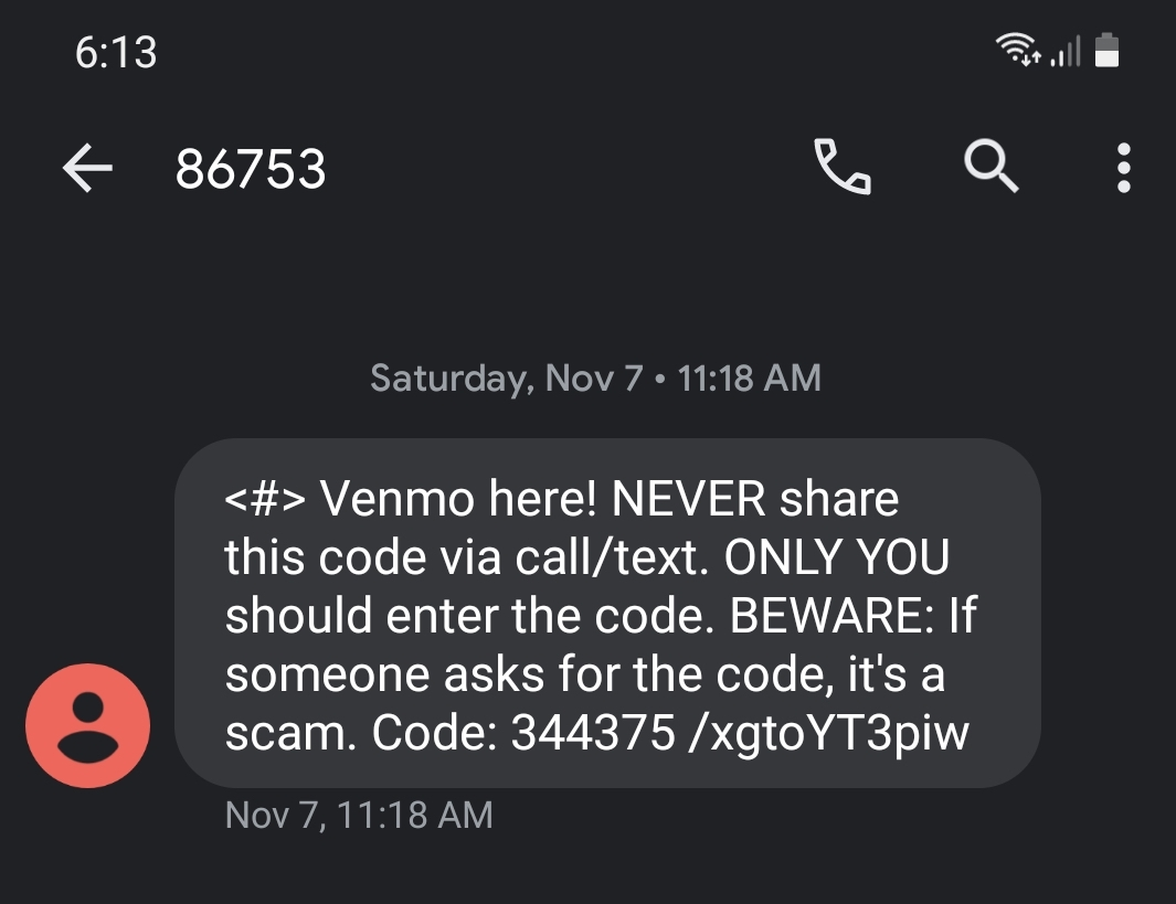 Venmo two-factor authentication code message