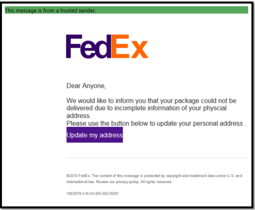 Fake FedEx shipping notification email