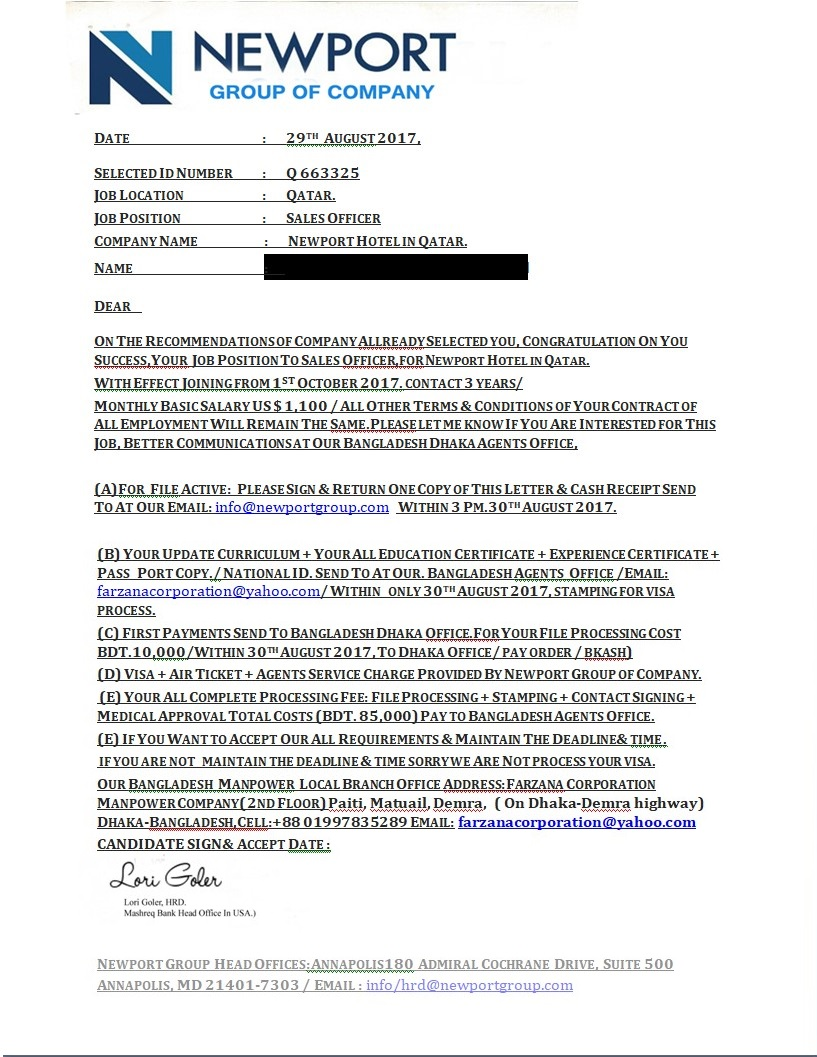 Example of job offer advance fee scam.