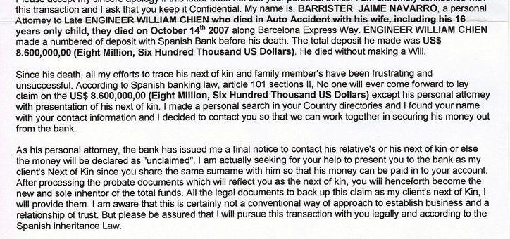 Example inheritance advance fee scam