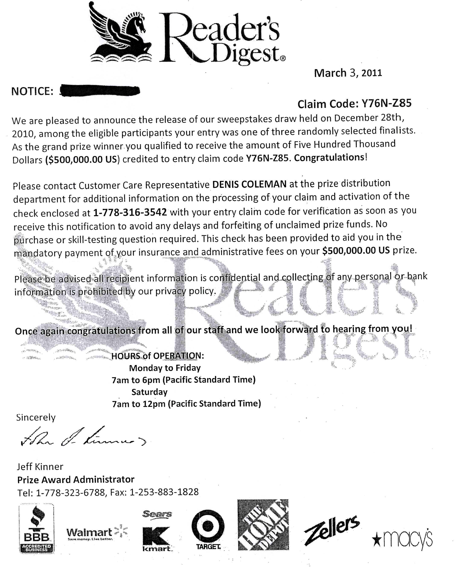 Example of advance fee sweepstakes scam.